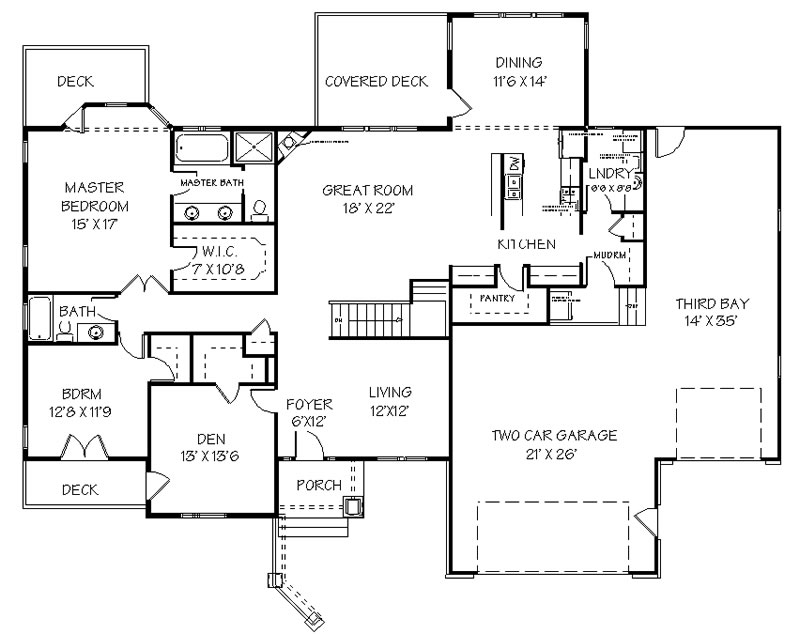 Main floor plan for house plan with basketball court inside
